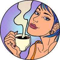 Woman with a cup of morning coffee or tea