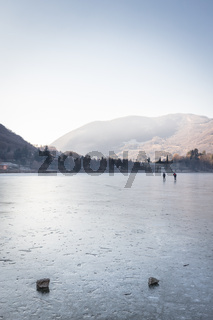 People skating on the Endine frozen lake