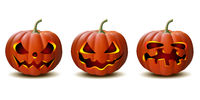 set of Halloween pumpkins in vector with different faces