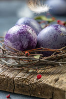 Traditional colorful Easter eggs close up.