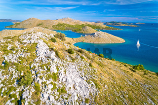 Kornati archipelago national park. Amazing stone desert scenery on Kornati islands and blue Adriatic sea