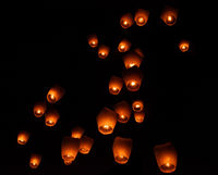Glowing night sky at Pingxi sky lantern festival, Taiwan
