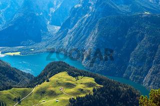 Blick vom Berg Jenner auf den Königssee im Berchtesgadener Land