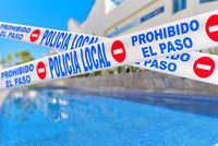 Quarantined public swimming pool closed caused by COVID-19