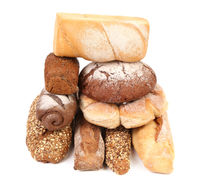 Stack of white and brown bread