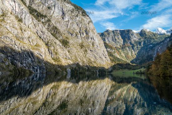 Der malerische Obersee, oberhalb des Königsseees in Berchtesgaden, Deutschland