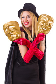 Woman with two masks isolated on white