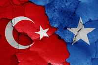 flags of Turkey and Somalia painted on cracked wall