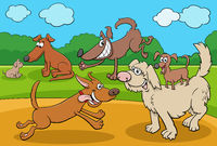 cartoon playful dogs and puppies funny characters group