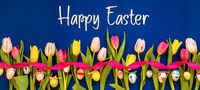Banner With Colorful Tulip, Text Happy Easter, Easter Egg