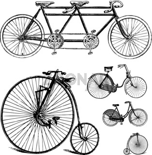 Vector Clipart Retro Bicycle Set
