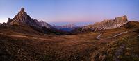 Mountain evening dusk peaceful panorama from Giau Pass.