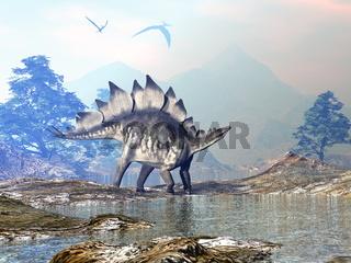 Stegosaurus dinosaur walking - 3D render