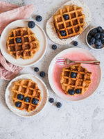 Healthy Gluten Free Oat Waffles. Copy Space
