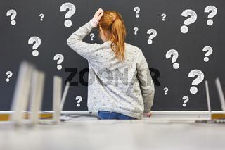 Kind in Schule vor Tafel mit vielen Fragezeichen