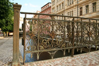 Old Bridge in the City center of Karlovy Vary aka Carlsbad-Czech Republic.