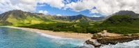 Makua beach and valley on west coast of Oahu in aerial shot over ocean