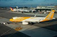 Singapur, Republik Singapur, A320 Passagierflugzeug der Scoot Airlines auf dem Flughafen Changi