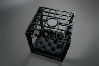 Black BDSM cage with soft leather pillow