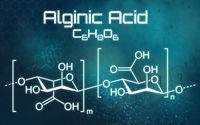 Chemical formula of Alginic acid on a futuristic background