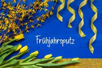 Spring Flowers Decoration, Branch, Ribbon, Fruehjahrsputz Means Spring Cleaning