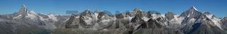 Beautiful panorama in Zermatt. Matterhorn, Zinalrothorn, Weisshorn...