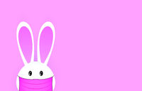 Cute easter bunny in medical mask.