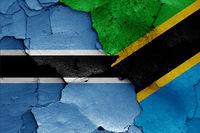 flags of Botswana and Tanzania painted on cracked wall