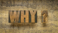 why question in vintage wood type
