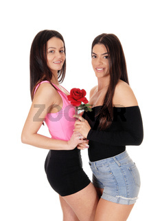Two lovely woman standing  close to each other