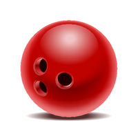 Red glossy bowling ball isolated on white background.