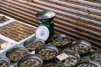 clams on seafood market, clams on fish market -