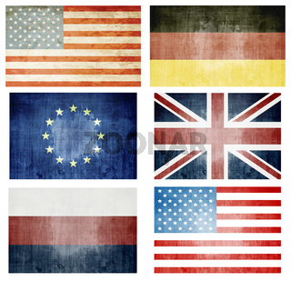 Set Of Grunge Flags