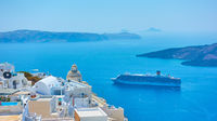 The Sea and Fira town on the coast of Santorini
