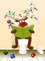 Deer reading a book in the toilet room
