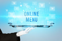 Waiter serving online shopping concept
