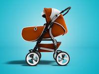 Modern orange baby stroller transformer all-season 3d render on blue background with shadow