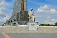 Moscow, Russia - august 25, 2020: Monument to Konstantin Eduardovich Tsiolkovsky, the founder of cosmonautics in the Cosmonautics Museum.