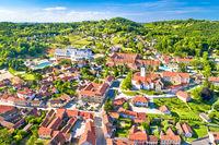 Town of Varazdinske Toplice in green hillside landscape aerial view