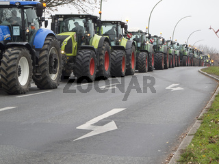 Farmers with tractors for protest demonstration