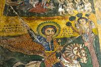 Heiliger Georg, Canvas Gemälde, Kirche Abreha wa Atsbaha, Gheralta Region, Tigray, Äthiopien