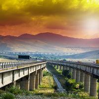 Asphalt road of the island of Sicily