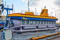 Touristic yellow submarine under repair