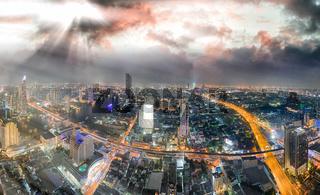 Sunset aerial view of Bangkok skyline, Thailand