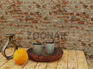 Stilleben mit Vase, Orange, Bechern und Schüsseln