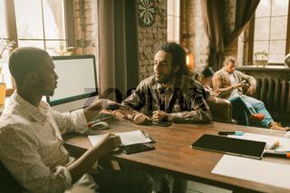 Freelancers Teamwork In Loft Style Office