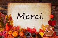 Old Paper With Merci Means Thank You, Colorful Autumn Decoration