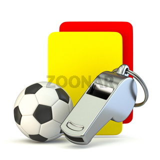 Metal whistle, soccer ball, yellow and red card 3D