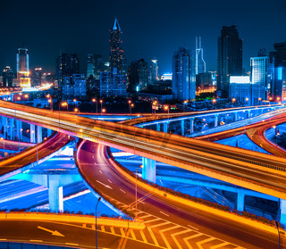shanghai elevated road at night