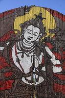 Shiva Graffiti auf Holztor